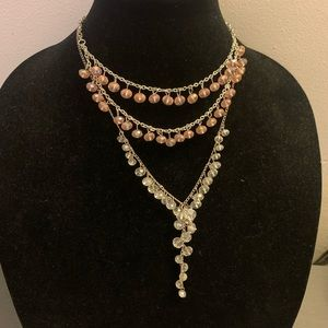 2 beaded necklaces - pink & clear beads -tarnished
